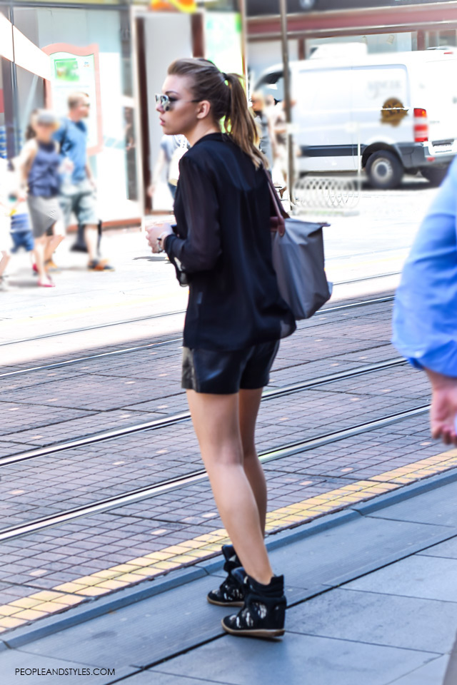 Black shorts, shirt and wedge sneakers street style in Zagreb, summer fashion, June 2015. What to wear to work in summer