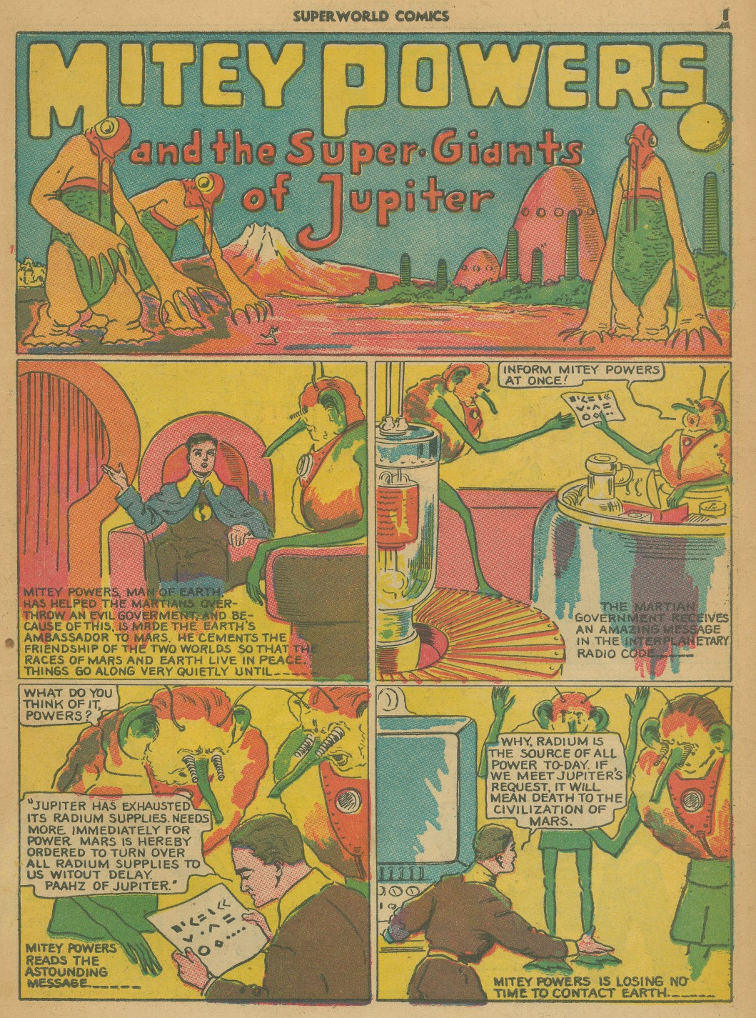 four color shadows mitey powers superworld comics 1940