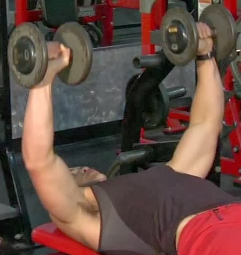 Bench press exercise for tricep using dumbbells1