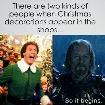 caption 'there are two kinds of people when Christmas decorations begin appearing in stores' one is Will Ferrel from Elf all happy, the other is Théoden looking grim 'and so it begins'