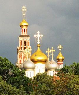 Купола церкви за деревьями