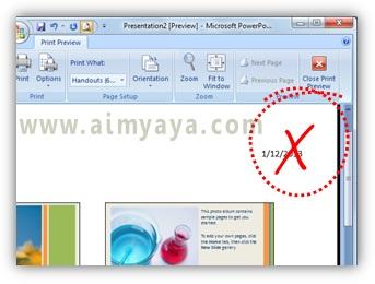 Gambar:  contoh tanggal yang tidak inginkan di powerpoint