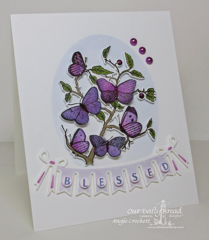 ODBD Custom Butterfly Branch Die, ODBD Custom Pennant Swag Die, Pennant Swag Alphabet, Faith, Card Designer Angie Crockett