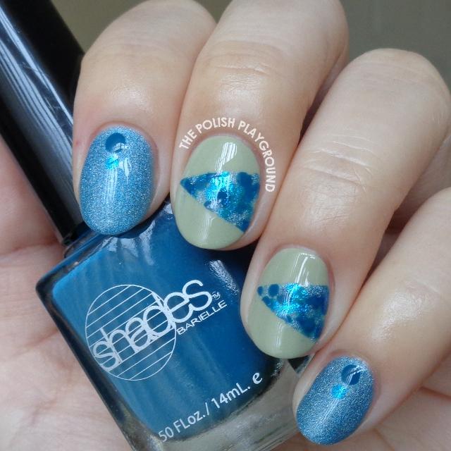 Isolated Blue Dotting Nail Art
