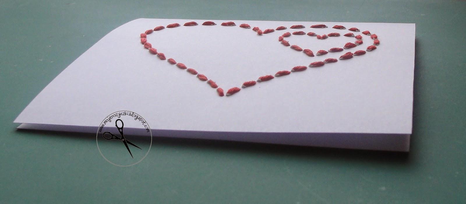 kartka na walentynki szyta kartka na walentynki, prezent ręcznie robiony