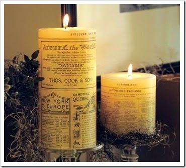 Velas vintage con papel de periódico Velas vintage con papel de periódico