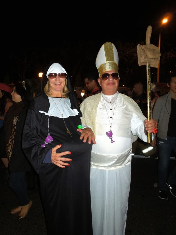 Pregnant nun bishop costume West Hollywood Halloween 2013