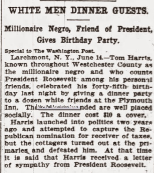 Finishing Up With Thomas Harris ...For Now -- How Did I Get Here? My Amazing Genealogy Journey --The Washington Post ,June 15, 1908, Thomas Harris, Larchmont, NY