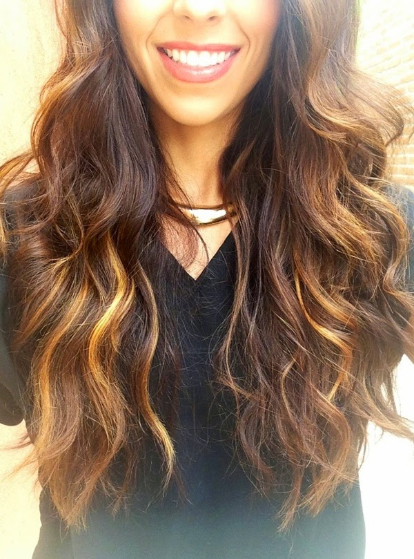 brunette with balayage highlights