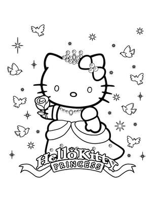 Dibujo pintar a hello kitty