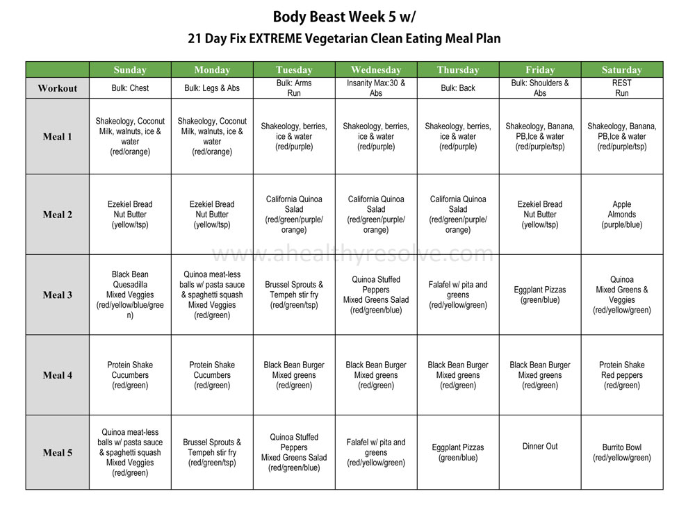 Body Beast Clean Vegetarian Eating Meal Plan using 21 Day Fix EXTREME nutrition plan