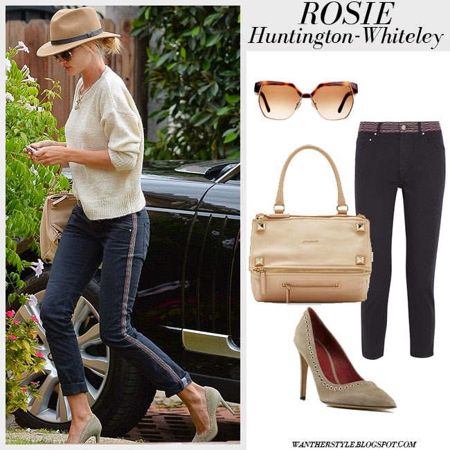 Rosie Huntington-Whiteley in dark navy side stripe cropped Isabel Marant Andreas jeans, beige sweater, camel fedora and sude pumps Isabel Marant Laurie Want Her Style Fashion Spring Inspiration