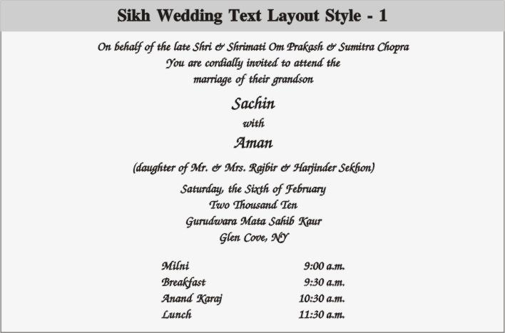 Wedding and Jewellery: punjabi wedding invitation wording
