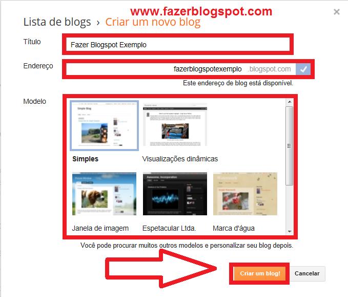 Escrever título, endereço e escolher tema do blog