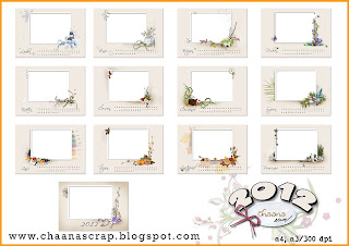 Šablony pro nástěnný kalendář 2012 na šířku