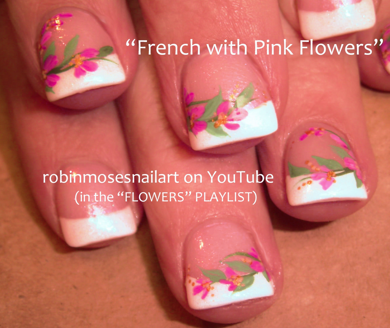 Robin moses nail art cutest pink french manicure nails ever short nails w pink flowers cutest nail art ever prinsesfo Gallery