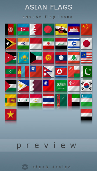 Free Asian Flags Icons