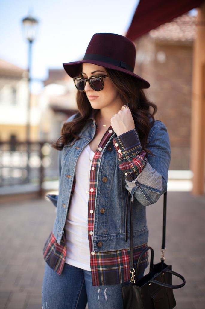 burgundy felt hat, plaid jcrew shirt, karen walker sunglasses