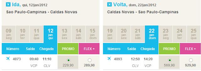 Valores de passagem aérea até Caldas Novas