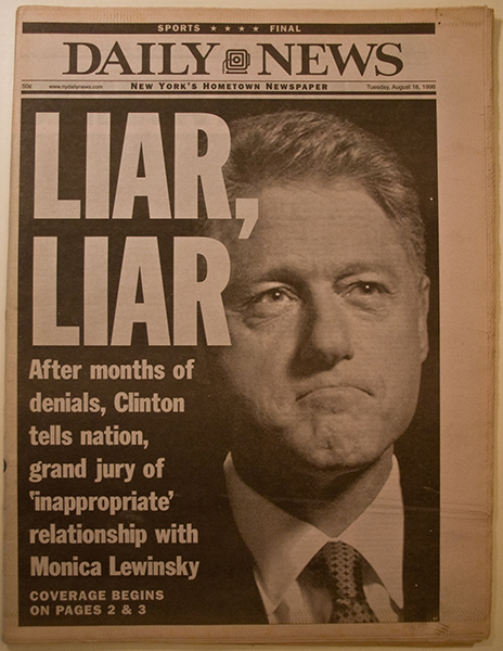 a look at the role of the media in the clinton lewinsky scandal When the monica lewinsky scandal broke in 1998, bill clinton took adviser dick morris to the side and confessed that he was, indeed, guilty of some of the charges.