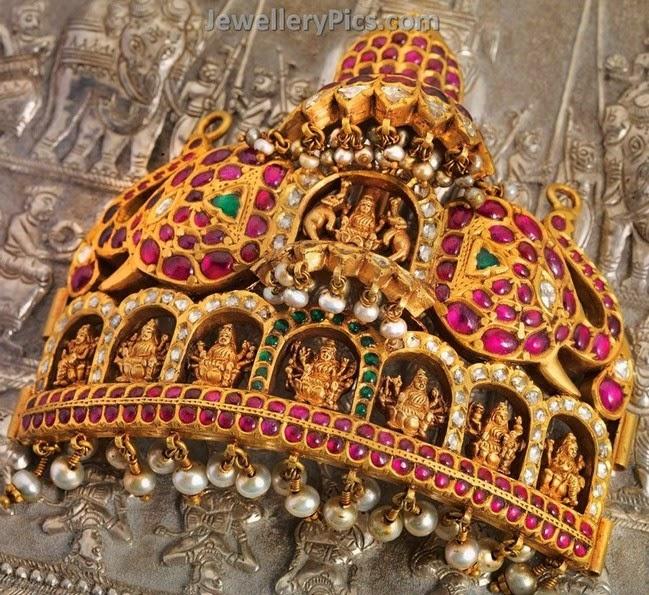 heavy temple lakshmi pendant