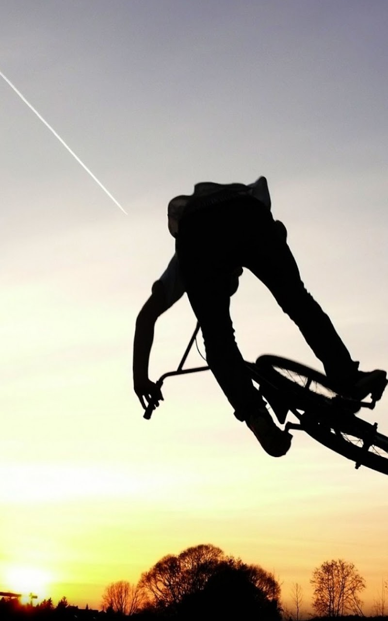 android best wallpapers: mountain bike silhouette android best
