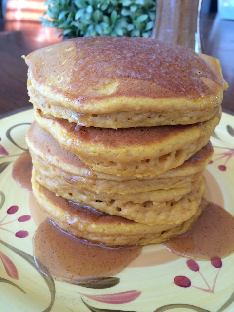 Pumpkin Eggnog Pancakes with Warm Cinnamon Syrup, Deals to Meals, Recipe:  Breakfast