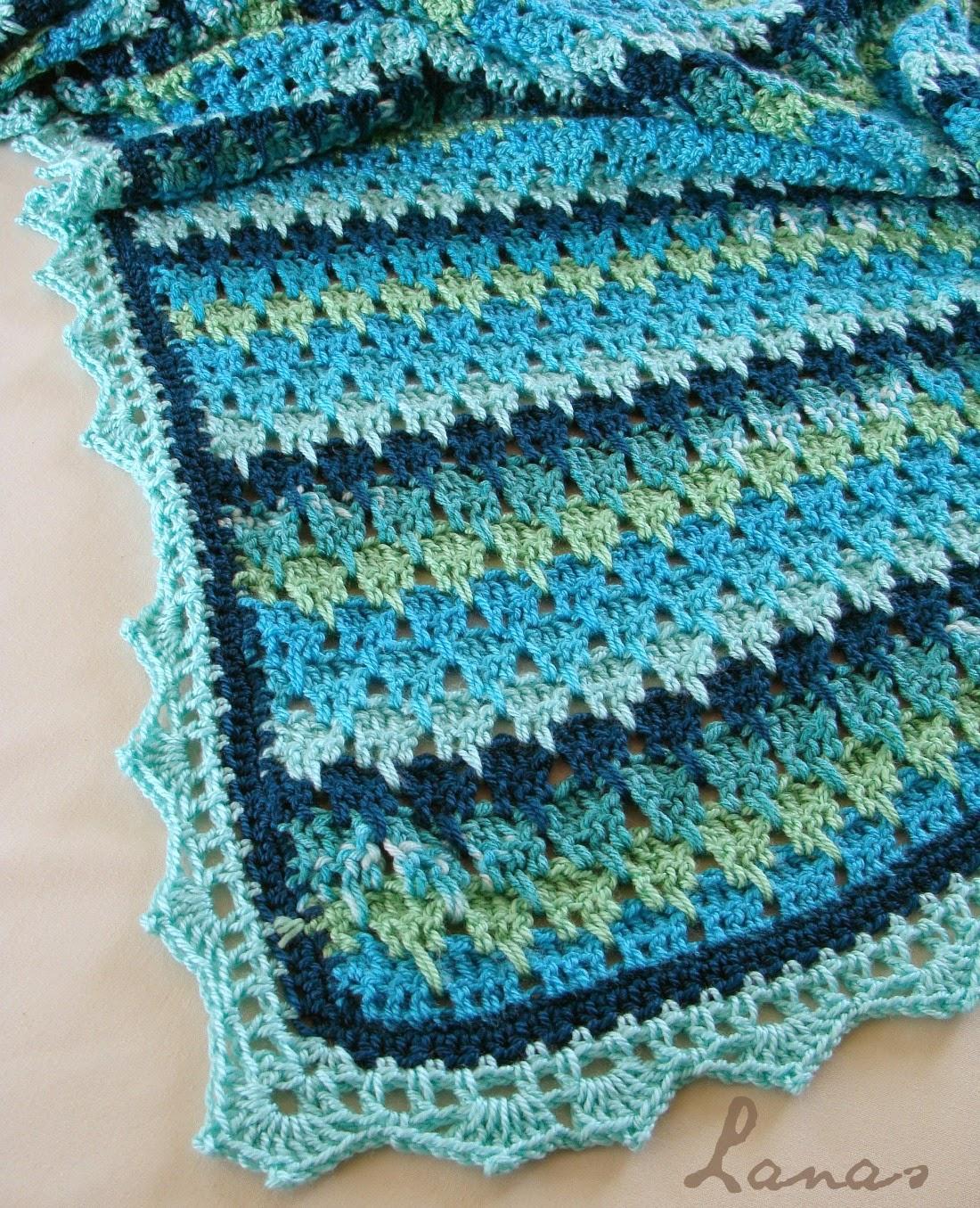 Lanas de Ana: Aqua Larksfoot Blanket