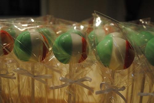 italian flag cake pop