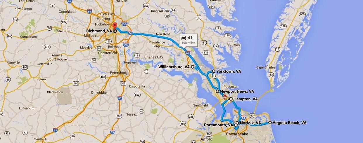 map of Hampton Roads, Coastal Virginia, Richmond Virginia