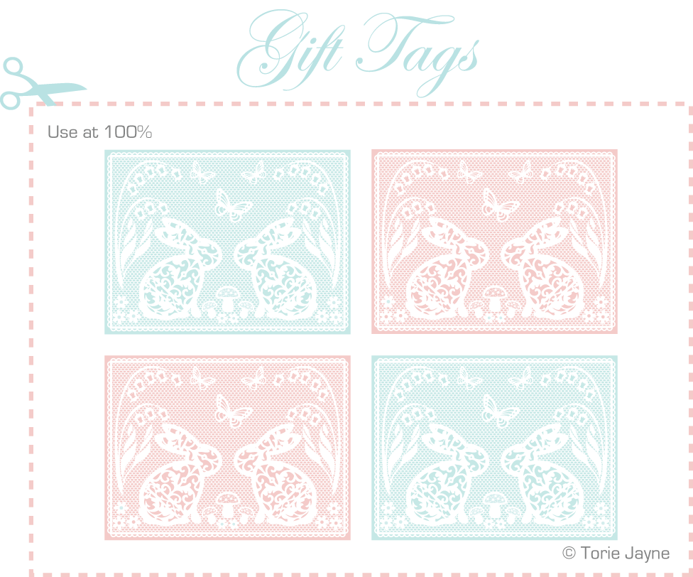 Easter lace bunny labels