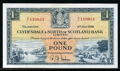 Scottish Pounds Clydesdale Scotland Bank Pound sterling note banknotes
