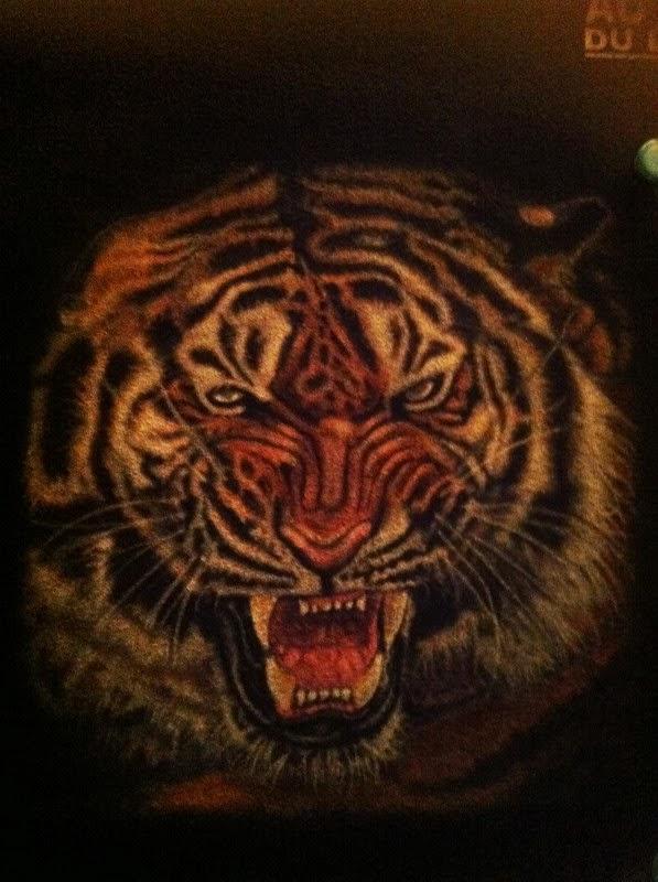 photo(10) tuto et pas a pas tigre sur teeshirt peinture aérographe