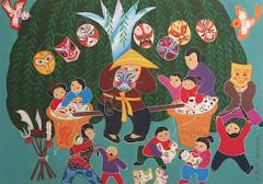 """Reprise de l'exposition """"Peintures naïves de la campagne chinoise"""" de Wang Xiaojun."""
