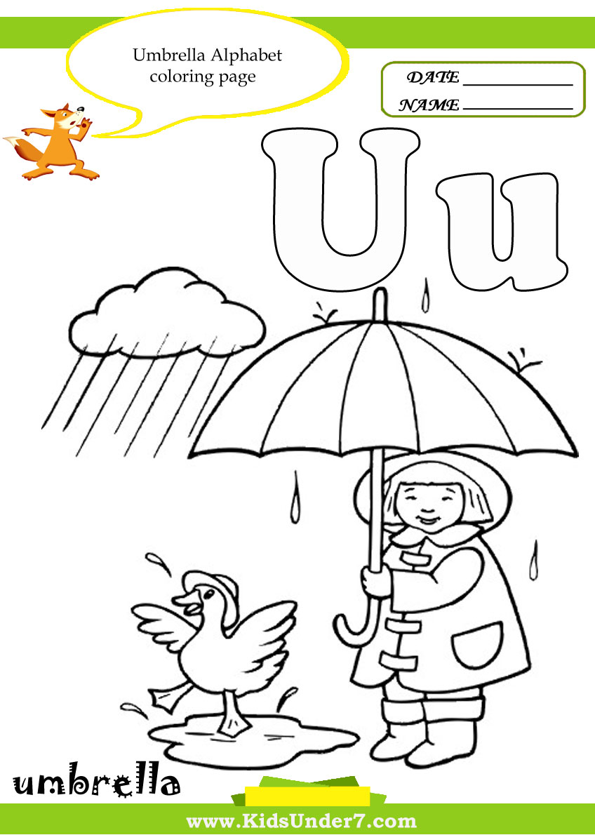 Kids Under 7: Letter U Worksheets and Coloring Pages