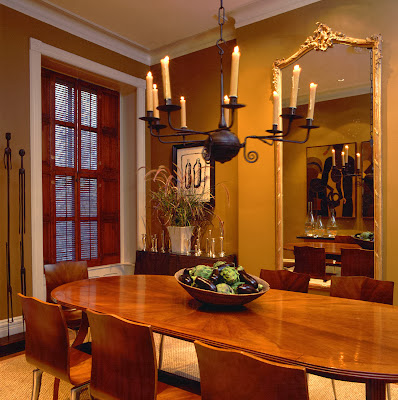 dining room in smooth wooden texture furnishings and classic hovering chandelier above