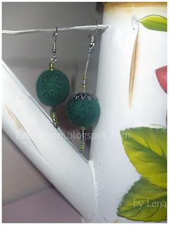 Πράσινα χειροποίητα σκουλαρίκια felt με χάντρες