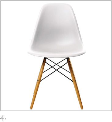 White Eames DSW chair by Vitra