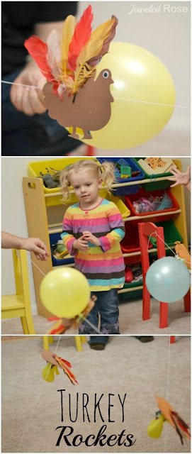 Turkey balloon rockets- fun Fall Science for Kids