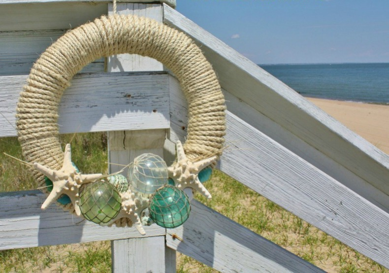 coastal wreath with sea glass
