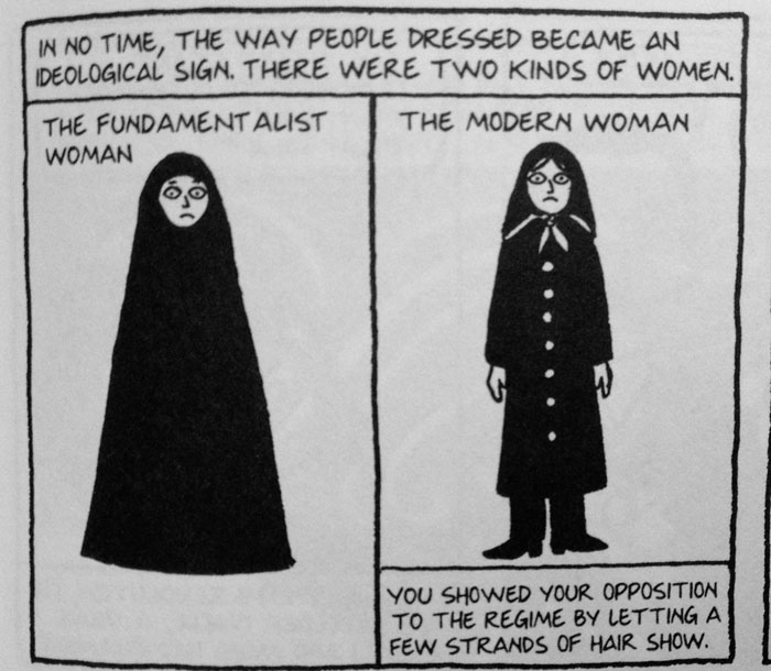 the veil as a symbol in marjane satrapis persepolis The complexity of marjane satrapi's persepolis posted on february 16, 2014 by schau77 after monday's lecture, i kept thinking about the two opposing perspectives that were presented in class.
