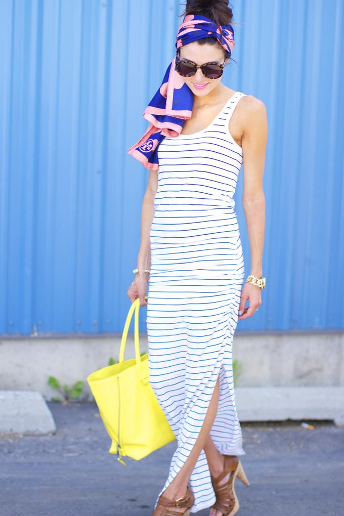 moda feminina, look de verão, roupas da moda, vestido longo, óculos de sol, bolsa amarela, acessórios da moda