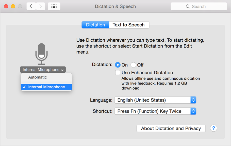 Mac Dictation screen shot.