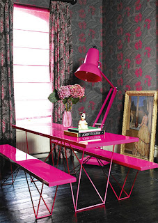 a high gloss pink picnic table for inside the house