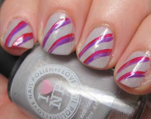 Revlon stripes in Lava and Violet over Concrete Sprinkles