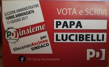 """TORRE ANNUNZIATA 11 GIUGNO 2017- AL COMUNE VOTA E SCRIVI """"PAPA LUCIBELLI"""""""