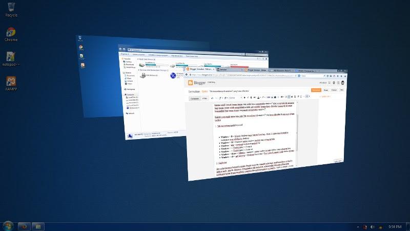 Cara tombol cepat di keyboard windows 7