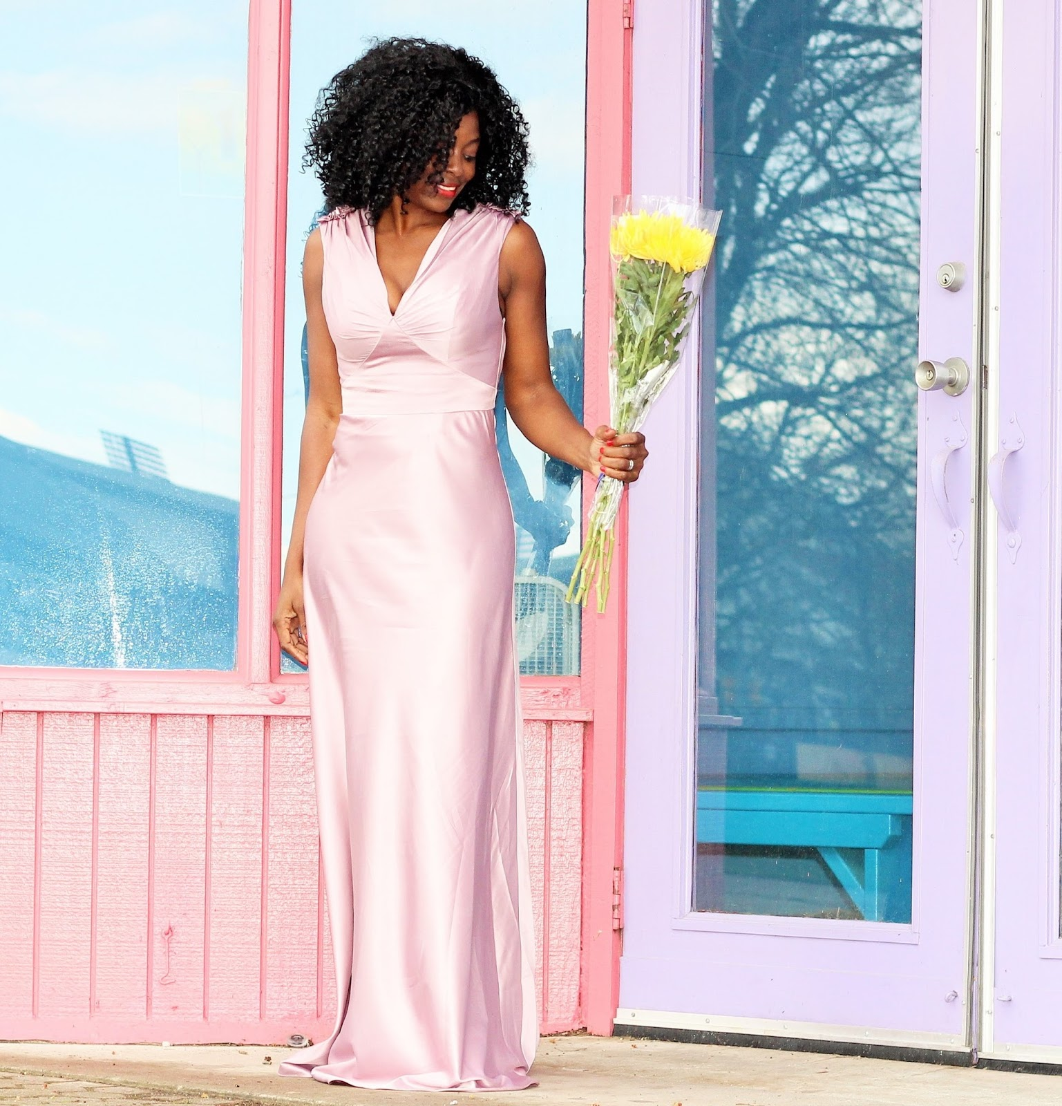 UNIQUE VINTAGE LAVENDER SATIN HARLOW GOWN