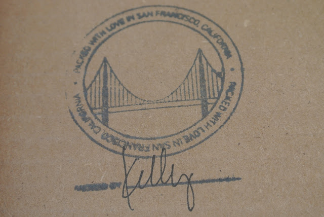 Detail of San Francisco Stamp Inside of Shipping Box