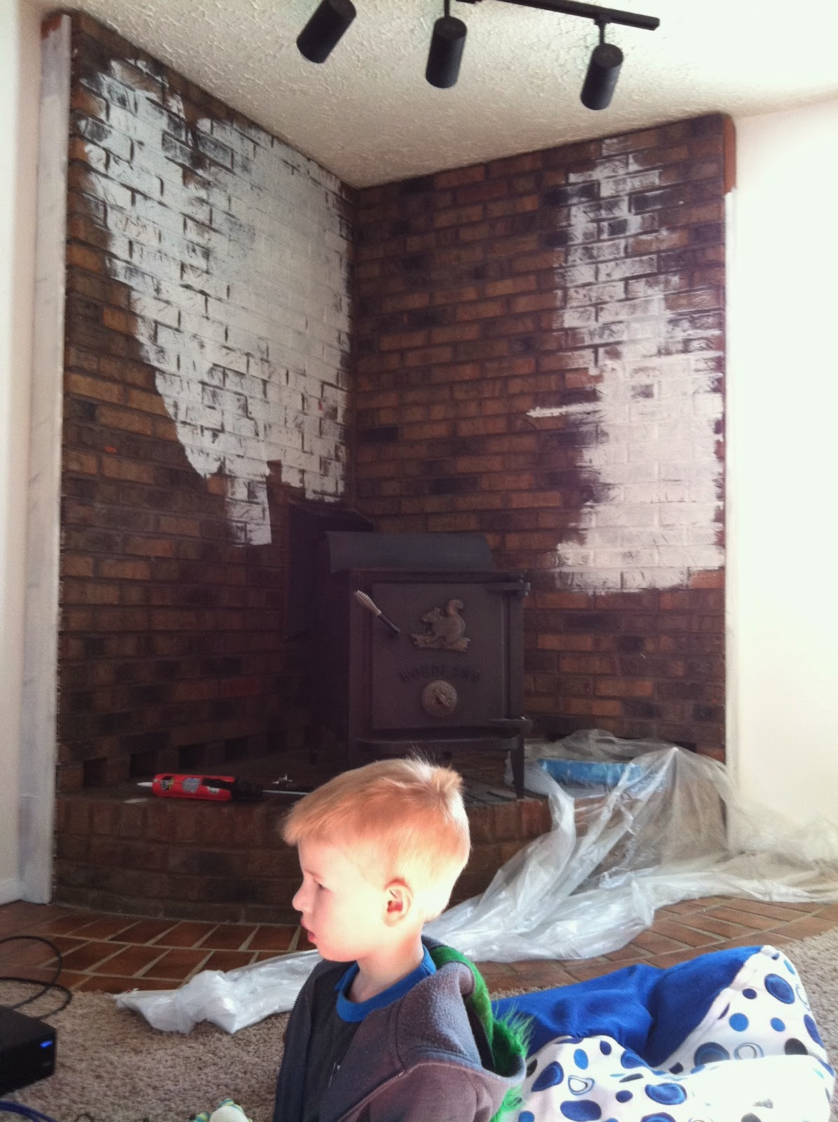 Sugarplum Cuties: Painting a Brick Fireplace